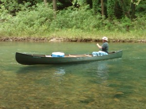 Larry in canoe